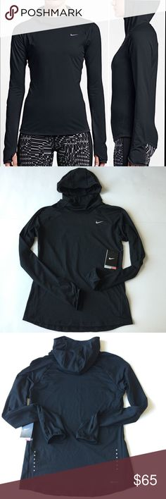 Nike Dri-Fit Element Running Hoodie PLZ READ THE COMPLETE DESCRIPTION BEFORE COMMENTING! Thank u!  Brand new with tag Size: M Retail: $80  Fitted scuba hood stays in place while running. Mesh chin, side and back panels enhance breathability. Thumbholes at cuffs for warmth and enhanced fit. Reflective elements stand out in low light.  Color may be slightly different bcz of lighting  Price is FIRM unless bundled ❌Trades ❌Holds All sales r final Welcome product-related questions! Ur responsible…