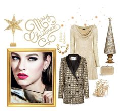 """Christmas Gold 🎄"" by jbeb ❤ liked on Polyvore featuring Nicole Coste, Dekorasyon, SS Print Shop, Biltmore, Racil, Judith Leiber, Chanel and Kenneth Jay Lane"