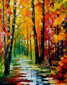 """Title: WET PATH by Leonid Afremov  Size: 30""""x24""""  Condition: Excellent Brand New  Gallery Estimated Value: $3,500  Medium: 100% hand painted oil painiting on Canvas by Leonid Afremov - Recreation of an older painting  Signed by Leonid Afremov, Certifi..."""