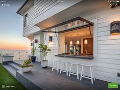 Great Home Project: Pass-Through Kitchen Window Indoor Outdoor Kitchen, Outdoor Kitchen Design, Patio Design, Outdoor Spaces, Outdoor Ideas, Outdoor Bars, Outdoor Kitchens, Indoor Bar, Outdoor Cooking