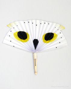 Owl Paper Fan