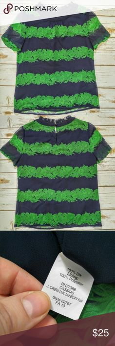 """J. Crew Green And Navy Floral Stripe Silk Tee J. Crew Green And Navy Floral Stripe Silk Tee with Ruffled Collar  Size 00 in excellent condition. 13"""" shoulder to shoulder, 17"""" bust, 23"""" from collar to hem. JCrew Green And Navy Floral Stripe Silk Tee J. Crew Tops Tees - Short Sleeve"""