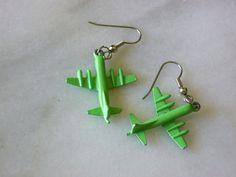 Vintage Cracker Jack Charm Airplane earrings by EllensEclectics, $8.00