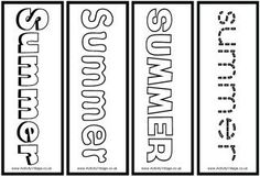 Summer colouring bookmarks
