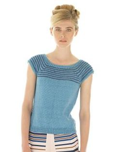 Knit this womens capped sleeve top from Rowan Knitting & Crochet Magazine 55, a design by Sarah Hatton using the gorgeous yarn Softknit Cott...