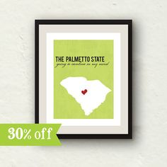 Clearance Sale!!  State print home decor  South Carolina print  by PaperFinchDesign, $10.00