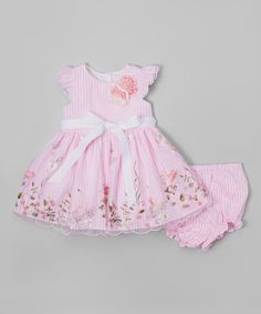 Laura Ashley London Pink Floral Embroidered Dress - Infant, Toddler & Girls | zulily