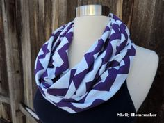 Infinity Scarf // Purple and White Chevron  by MrsShellyHomemaker, $18.00
