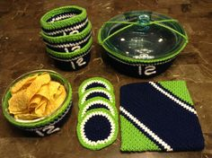 Seattle Seahawks Style Crochet 10 Piece Serving Bowl Covers Party Set Handmade made with Redheart Yarn, $47.00