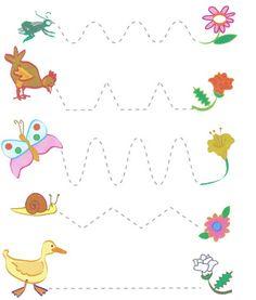 Voorbereidend schrijven, lente Preschool Fine Motor Skills, Preschool Writing, Numbers Preschool, Preschool Printables, Kindergarten Worksheets, Art Activities For Toddlers, Educational Games For Kids, Preschool Activities, Kindergarten Spelling Words