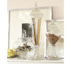 office supplies in apothecary jars