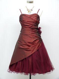 Cherlone Satin Burgundy Prom Cocktail Party Formal Ball Bridesmaid Dress 12-14 #Cherlone #Kneelength #Formal