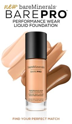 BAREPRO™ Performance Wear Liquid Foundation SPF a full coverage wear foundation that cares while it covers, improving the appearance of skin texture over time*. Available in 30 shades. Liquid Minerals, Bare Minerals, Beauty Secrets, Beauty Hacks, Beauty Tips, Beauty Products, Makeup Products, Makeup Tips, Beauty Makeup
