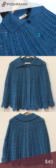 "Anthropologie Kimchi & Blue sweater poncho This is a lovely sweater poncho from Anthropologie. Size M/L. The color is turquoise blue with metallic copper thread throughout. Fabric include 67% acrylic, 14% wool, 13% alpaca, 4% polyester, 2% metallic. Approximate length is 26"". Excellent condition! Anthropologie Sweaters Shrugs & Ponchos"