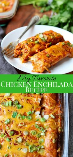 My Favorite Chicken Enchiladas My Favorite Chicken Enchilada recipe. Easy to make and full of chicken, red onions, garlic, cilantro, spices ans smothered in a tangy red enchilada sauce and lots of cheese. This is the perfect Mexican Dinner! Casserole Enchilada, Red Enchilada Sauce, Enchilada Recipes, Best Chicken Enchilada Recipe, Tostada Recipes, Chicken Casserole, Casserole Recipes, Quesadillas, Burritos