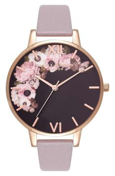 Olivia Burton Winter Garden Leather Strap Watch, 38mm