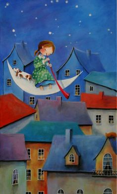 View Iwona Lifsches's Artwork on Saatchi Art. Find art for sale at great prices from artists including Paintings, Photography, Sculpture, and Prints by Top Emerging Artists like Iwona Lifsches. Art Fantaisiste, Art Mignon, Naive Art, Moon Art, Children's Book Illustration, Whimsical Art, Oeuvre D'art, Cute Art, Dachshund