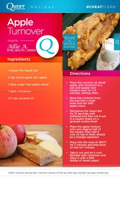 A #CheatClean classic Apple Turnover treat recipe by fan Allie A! Protein Desserts, High Protein Snacks, High Protein Low Carb, Protein Foods, Healthy Dessert Recipes, Quest Protein, Ideal Protein, Healthy Food, Healthy Eating
