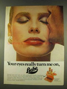 1977 Faberge Babe Eye Shadows Ad - Turn Me On-This is a 1977 ad for a Faberge Babe Eye Shadows! The size of the ad is approximately The 70s Makeup, Sun Care, Eye Shadows, Babe, The Past, Cosmetics, Eyes, Retro, Beauty