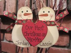 Snowmen Couple Ornament  Our First Christmas as Mr. & by debwwu, $7.99