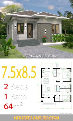 House design with 2 bedrooms - House Plans Contemporary House Plans, Modern House Plans, Small House Plans, Contemporary Style Homes, The Plan, How To Plan, 2 Bedroom House Plans, Three Bedroom House, House Construction Plan