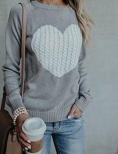 8571b7cab Women s Daily Basic Geometric   Heart Long Sleeve Slim Regular Pullover  Beige   Navy Blue