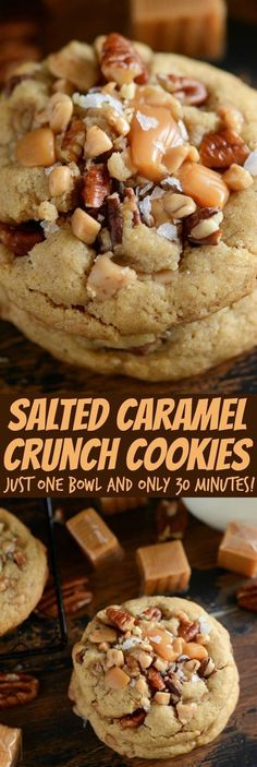 Salted Caramel Crunch Cookies: a one-bowl chewy brown sugar cookie with toffee bits, chopped pecans, caramel bites and sprinkled with flaked sea salt! (recipes with biscuits brown sugar) Cookie Desserts, Just Desserts, Delicious Desserts, Delicious Dishes, Cookie Jars, Tea Cakes, Bundt Cakes, Crinkle Cookies, Chip Cookies