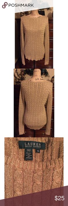NWOT Ralph Lauren Gold Sweater XL NWOT Ralpn Lauren gold sparkle cableknit sweater. It's a holiday statement sweater for any party or event. size XL Ralph Lauren Sweaters Crew & Scoop Necks