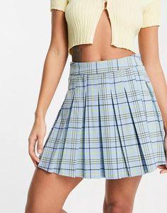 Stradivarius pleated tennis mini skirt in blue check | ASOS Plaid Skirts, Mini Skirts, Asos, Tennis, Womens Maxi Skirts, Jersey Skirt, Blue Check, Tartan Plaid, Spandex