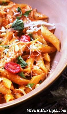 Roasted Red Pepper and Basil Pesto Penne - my kids favorite!  The pesto is super healthy, the food processor does all the work!  Step-by-step photo tutorial.