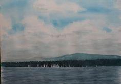 sandysign | Bol d'or sur le lac Léman Or, Painting, Lake Geneva, Watercolor Artists, Watercolor Painting, Painting Art, Paintings, Painted Canvas, Drawings