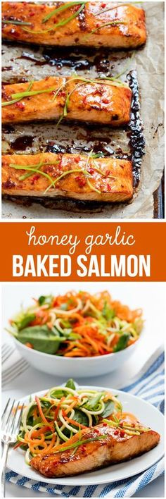 Healthy Recipes : Illustration Description Honey Garlic Baked Salmon – One of the easiest and tastiest salmon recipes you'll ever make! Just 15 minutes in the oven and you have a delicious, healthy meal. -Read More – Delicious Salmon Recipes, Baked Salmon Recipes, Fish Recipes, Seafood Recipes, Easy Dinner Recipes, Cooking Recipes, Healthy Recipes, Meal Recipes, Honey Recipes