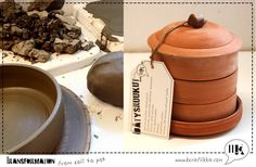 Transormation from soil to pot. Handmade sprouting pot made out of natural clay. Made in finland. www.kerafiikka.com