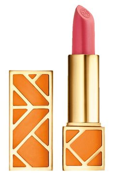 This gorgeous pink shade of lip color by Tory Burch perfectly balances sheer yet vivid color and creates an effortlessly chic look.