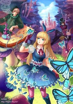 ✮ ANIME ART ✮ Alice in Wonderland. . .Alice. . .Caterpillar. . .Mad Hatter. . .anime boys. . .mushrooms. . .butterflies. . .castle. . .hookah. . .fantasy. . .cute. . .kawaii