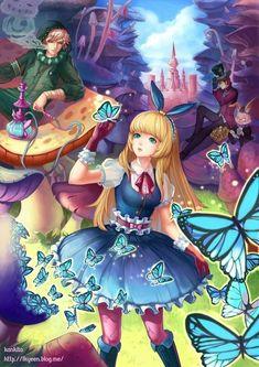 ✮ ANIME ART ✮ Alice in Wonderland. . .Alice. . .Caterpillar. . .Mad Hatter. . .anime boys. . .mushrooms. . .butterflies. . .castle. . .hookah. . .fantasy. . .cute. . .kawaii