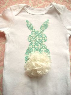 @Alissa Evans Strouse for Molly Easter OnesieBunny Butt  Turquoise with Lace Tail by bubbaandlulu, $15.00
