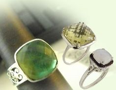 Chalisa Jewelry.  Artisan made sterling silver jewelry with semi precious gem stones.
