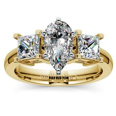 Pear Princess Diamond Engagement Ring in Yellow Gold http://www.brilliance.com/engagement-rings/princess-diamond-ring-yellow-gold-1-ctw