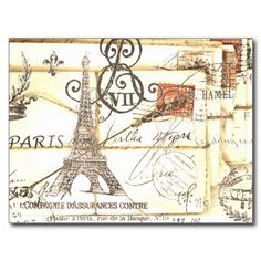 Elegant vintage girly floral paris fashion postcards