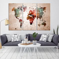 Modern Large Wall Art Rainbow Color World Map Map Push Pin Canvas Print for Wall Decor - Wall. Wall Art world map wall art World Map Canvas, World Map Wall Art, Large Canvas Wall Art, Extra Large Wall Art, Canvas Art, Diy Canvas, Push Pin World Map, Water Color World Map, Videos Photos