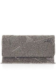 Xavier Womens Alexia Clutch Size One Size - Gunmetal by: From St. Beaded Clutch, Beaded Bags, My Bags, Purses And Bags, Vintage Clutch, Cute Bags, Leather Accessories, Clutch Purse, Evening Bags