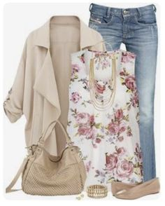 Stitch Fix Fashion 2017! Ask your stylist for something like this in your next fix, delivered right to your door! #sponsored #StitchFix  Layers, floral cream & pink sleeveless top, cream cardi and denim