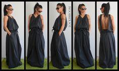 Black Long Dress / Black Oversize dress/ by ClothesByLockerRoom