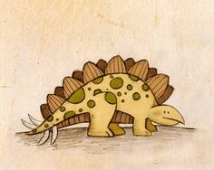 Stegosaurus Dinosaur Print by paperlionart on Etsy Art Wall Kids, Art For Kids, Long Neck Dinosaur, Dinosaur Images, Watercolor Projects, Unicorn Art, Baby Kind, Art Challenge, Illustrations