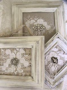 Shabby chic vintage doily display using a salvaged window frame framed lace solutioingenieria Gallery