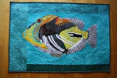 Picasso triggerfish made by Jane Haworth Raw edge collage Applique Quilt