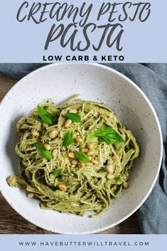 If you have been missing pasta on your low carb lifestyle, you need to give this delicious keto creamy pesto pasta a go. It uses the slendier edamame pasta. #ketopasta #Keotcreampestopasta Bacon Noodle Recipes, Pesto Pasta Recipes, Lasagne Recipes, Bacon Pasta, Low Carb Side Dishes, Side Dish Recipes, Edamame Pasta, Diet Dinner Recipes, Keto Recipes