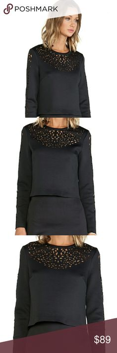 """CLOVER CANYON Lasercut Neoprene Top M 10/12 Nice minimalist piece, poly spandex, laser cut-outs CHEST 38"""" LENGTH 19"""" Excellent Condition Clover Canyon Tops Blouses"""