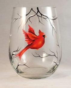 Red Cardinal Hand Painted on Stemless Wine Glass by SilviasBrush, $22.00: